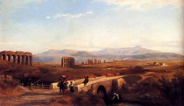 Peasants On A Bridge With Roman Ruins Beyond